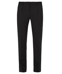 Valentino | Pleated Mid-Rise Slim-Leg Wool-Blend Trousers