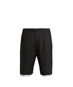 Raf Simons | Boot-Print Raw-Edge Wool Shorts