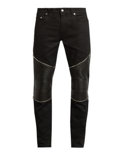 Saint Laurent | Contrast-Panel Skinny Biker Jeans