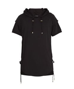Balmain   Side Lace-Up Cotton Hooded T-Shirt