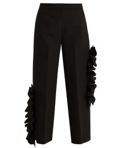 MSGM | Ruffled Stretch-Cady Cropped Trousers