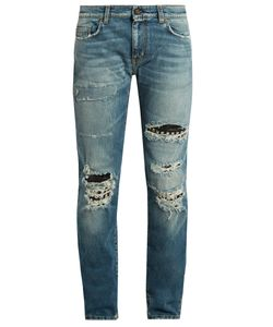 Saint Laurent | Stud-Embellishment Distressed Skinny Jeans