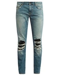 Saint Laurent | Distressed Leather-Insert Skinny Jeans