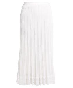 Oscar de la Renta | Pleated Knitted-Lace Skirt