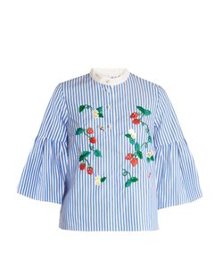 Muveil | Strawberry-Embroidered Striped Cotton Top