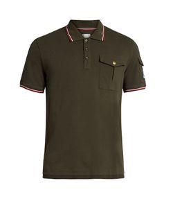 Moncler Gamme Bleu | Contrast-Stripe Cotton-Piqué Polo Shirt
