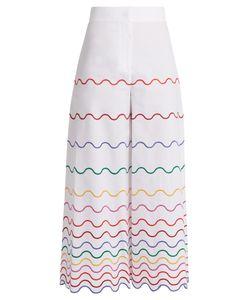 Sara Battaglia | Wave-Embroidered Wide-Leg Cotton Trousers