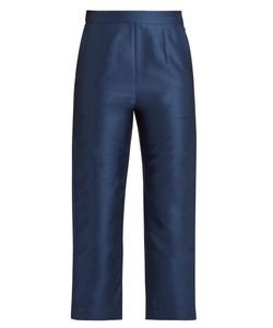 Isa Arfen | Cotton And Silk-Blend Twill Cropped Trousers