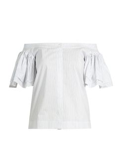 Isa Arfen | Ruffled Off-The-Shoulder Cotton-Blend Poplin Top