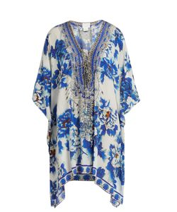 Camilla | Ring Of Roses-Print Lace-Up Silk Kaftan