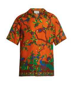 Gucci | Jubilee-Print Short-Sleeved Silk Shirt