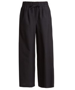 Muveil | Wide-Leg Striped Wool-Blend Cropped Trousers
