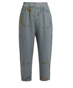 By Walid | Morton Embroidered Linen Cropped Trousers