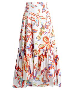 Peter Pilotto | -Print Ruffled-Hem Poplin Skirt