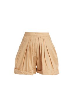 Vika Gazinskaya | Pleated-Front Cotton Shorts