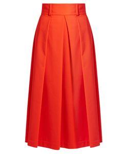 Tibi | High-Waist Stretch-Poplin A-Line Skirt
