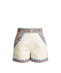 Talitha   Zoya-Embroidered Cotton Shorts