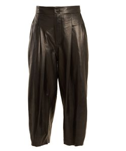 Natasha Zinko | Pleat-Detail Wide-Leg Leather Culottes