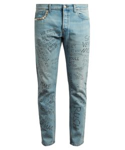 Gucci | Slim-Fit Typography-Print Cropped Jeans