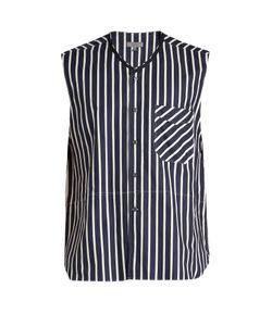Lanvin   Striped Cotton Sleeveless Shirt