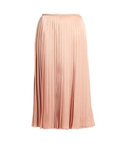 Fendi | Pleated Satin Midi Skirt
