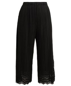 Pleats Please By Issey Miyake | Lace Cut-Out Cropped Trousers