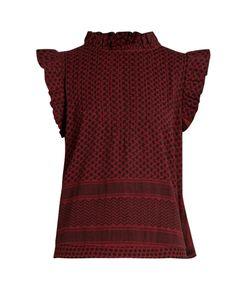 Cecilie Copenhagen   Pintuck-Yoke Scarf-Jacquard Cotton Top
