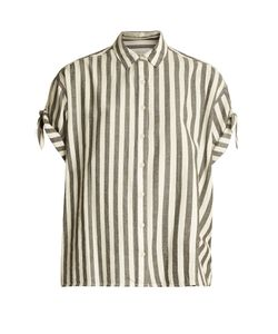 The Great | The Tie Sleeve Big Striped Cotton Shirt