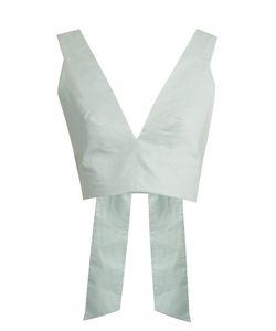 KALITA | Bow Tie Cotton-Poplin Cropped Top