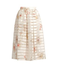 Fendi | Blooming-Print Striped Silk-Organza Skirt
