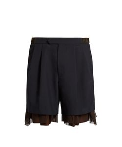 Kolor | Tulle-Underlayer Wool-Blend Shorts