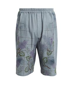 By Walid | Mido Embroide Antique-Linen Shorts
