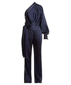 Jonathan Simkhai | Asymmetric-Drape One-Shoulder Satin Jumpsuit
