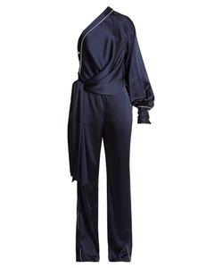 Jonathan Simkhai | Asymmetric-Drape One-Shoulder Satin Jumpsuit