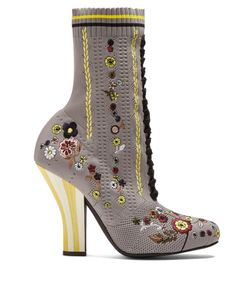 Fendi | -Embroidered Striped-Heel Sock Boots