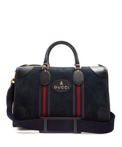 Gucci   Skull And Bone-Embossed Suede Holdall