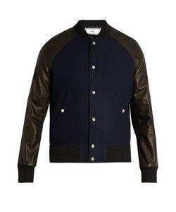 AMI | Leather-Sleeved Bomber Jacket