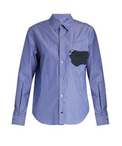 Toga   Abstract-Patch Striped Cotton Shirt