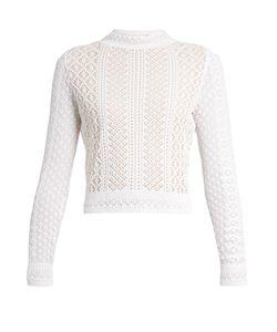 Oscar de la Renta | Long-Sleeved Knitted-Lace Top
