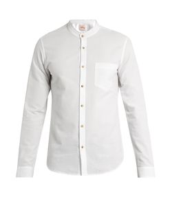 Orley | Raw-Edge Band-Collar Cotton Shirt