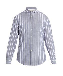 Brunello Cucinelli | French-Collar Striped-Cotton Shirt