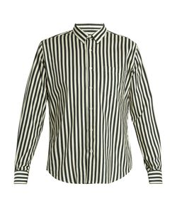 AMI | Point-Collar Striped Twill Shirt