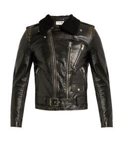 Saint Laurent | Shearling-Collar Leather Biker Jacket