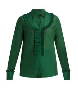 Rochas | Pleated-Bib Cotton-Blend Voile Shirt