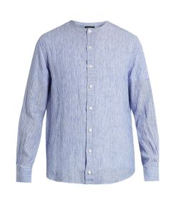 HELBERS | Long-Sleeved Collarless Linen Shirt