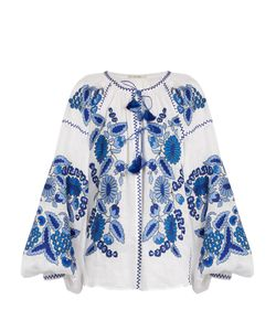 VITA KIN | Grapevine Embroidered Linen Blouse