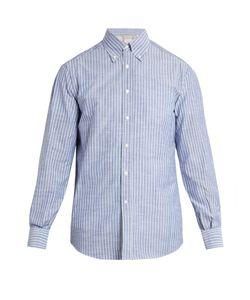Brunello Cucinelli | Button-Down Collar Striped-Cotton Shirt