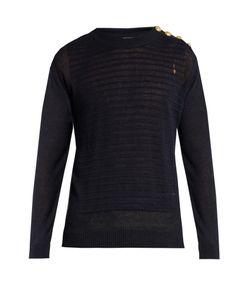 Balmain   Button-Shoulder Distressed Linen Sweater