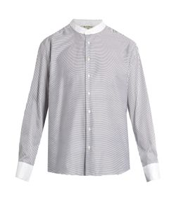 Etro | Granddad-Collar Striped Cotton Shirt