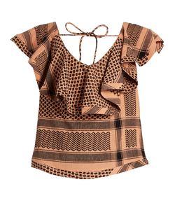 Cecilie Copenhagen   Ruffled Scarf-Jacquard Cotton Top